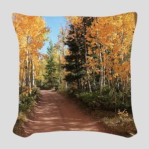 Colorado Autumn Road Woven Throw Pillow