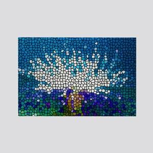 Stained Glass Anemone  Rectangle Magnet