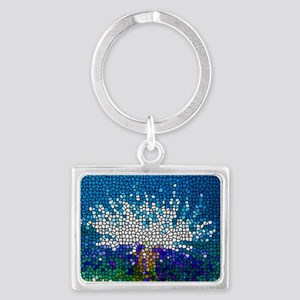Stained Glass Anemone  Landscape Keychain