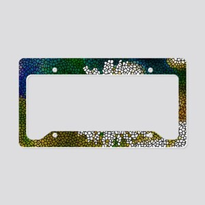 Stained Glass White Flower License Plate Holder