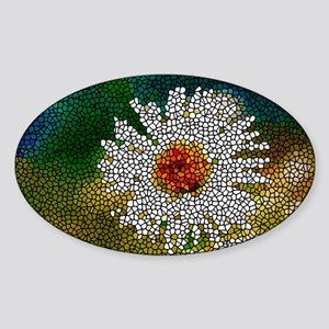 Stained Glass White Flower Sticker (Oval)