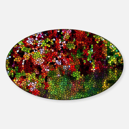 Stained Glass Autumn leaves reflect Sticker (Oval)