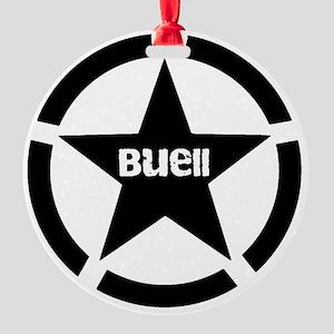 Buell Star Black Round Ornament