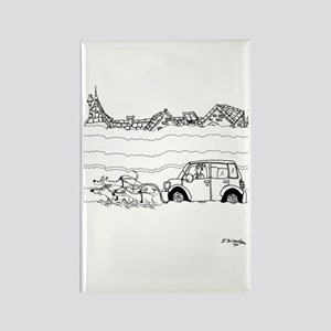 Sled Dogs Tow a Car Rectangle Magnet