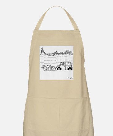 Sled Dogs Tow a Car Apron