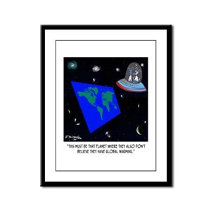 Flat Earth & No Global Warming Framed Panel Print