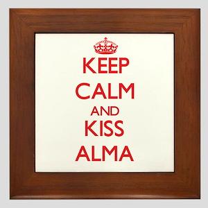 Keep Calm and Kiss Alma Framed Tile