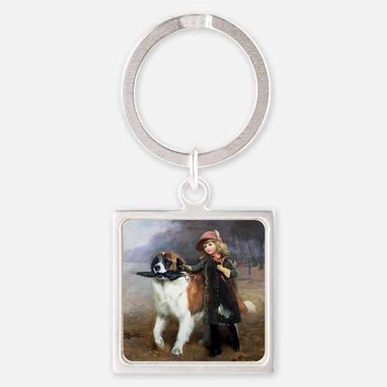 A Little Girl and Her Dog Keychains