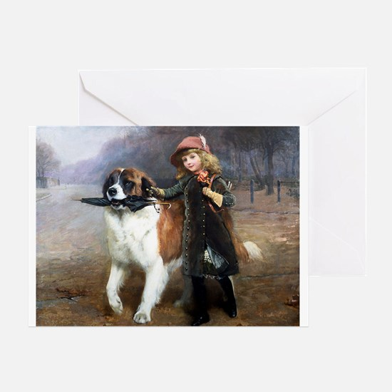 A Little Girl and Her Dog Greeting Cards