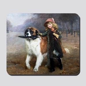 A Little Girl and Her Dog Mousepad