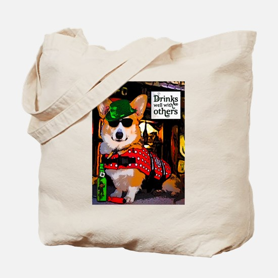 Irish Pub Corgi Tote Bag