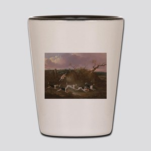 Beagles in Full Cry Shot Glass