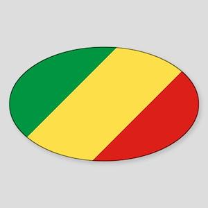 Congo Republic Flag Sticker (Oval)