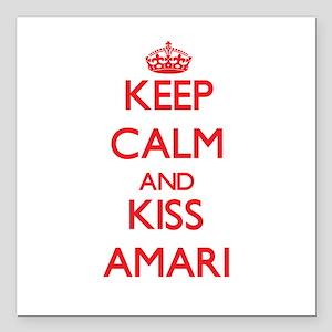 """Keep Calm and Kiss Amari Square Car Magnet 3"""" x 3"""""""