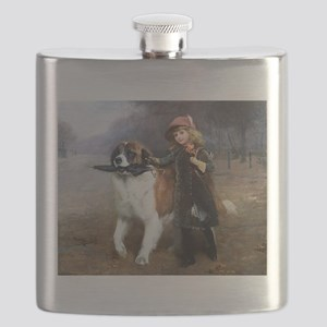 A Little Girl and Her Dog Flask