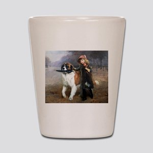 A Little Girl and Her Dog Shot Glass