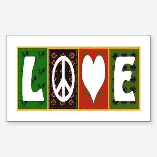 Unique Peace love quilt Sticker (Rectangle)