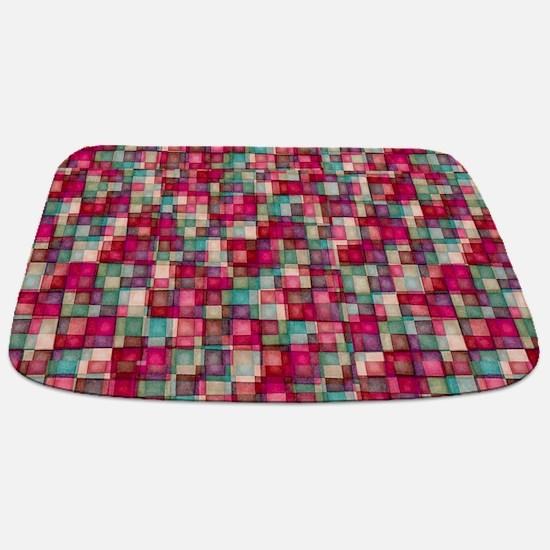 Watercolor Mosaic Tiles Shades of Ruby Red Sage Ba