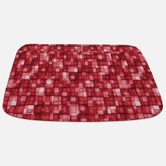 Watercolor Mosaic Tiles Shades of Cherry Red mat B