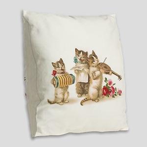 Caterwauling Burlap Throw Pillow