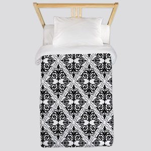 Black on White Damask 29a Twin Duvet
