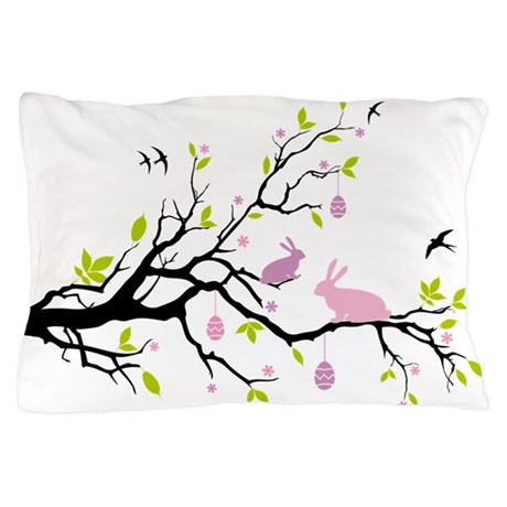 Happy Esater, spring tree with bunnies Pillow Case