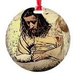 Jesus Tempted In The Desert Round Ornament