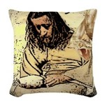 Jesus Tempted In The Desert Woven Throw Pillow