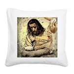 Jesus Tempted In The Desert Square Canvas Pillow