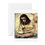 Jesus Tempted In The Desert Greeting Cards