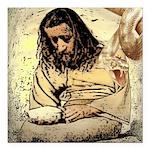 Jesus Tempted In The Desert Square Car Magnet 3