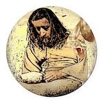 Jesus Tempted In The Desert Round Car Magnet
