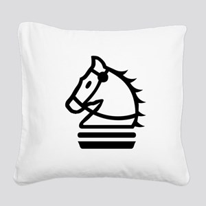 Knight Chess Piece Square Canvas Pillow
