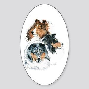 Sheltie Portraits Oval Sticker