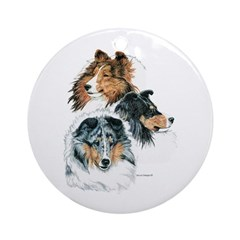 Sheltie Portraits Ornament (Round)
