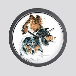 Sheltie Portraits Wall Clock