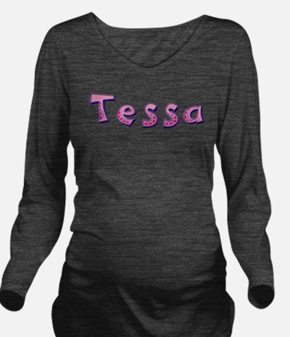 Tessa Pink Giraffe Long Sleeve Maternity T-Shirt