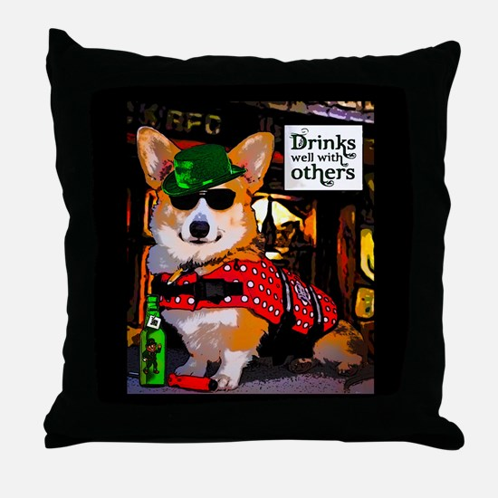 St Patricks Day Corgi Throw Pillow