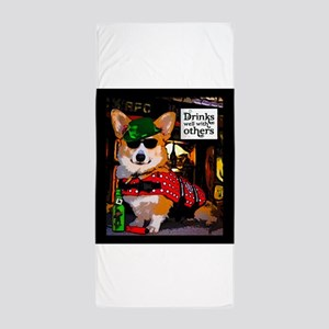 St Patricks Day Corgi Beach Towel