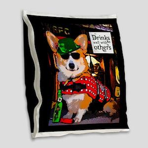St Patricks Day Corgi Burlap Throw Pillow