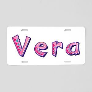 Vera Pink Giraffe Aluminum License Plate