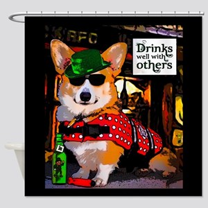 St Patricks Day Corgi Shower Curtain
