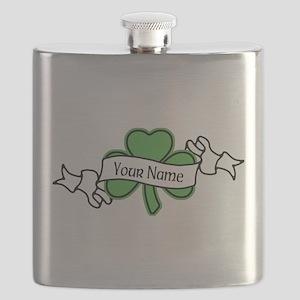 Shamrock CUSTOM TEXT Flask