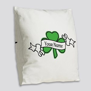 Shamrock CUSTOM TEXT Burlap Throw Pillow