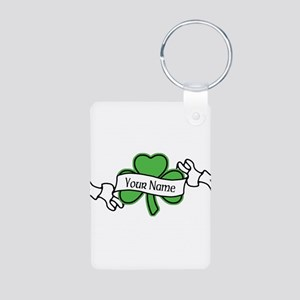Shamrock CUSTOM TEXT Aluminum Photo Keychain