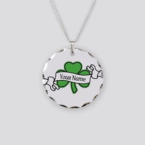 Shamrock CUSTOM TEXT Necklace Circle Charm