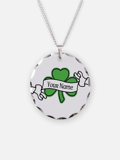 Shamrock CUSTOM TEXT Necklace Circle Charm