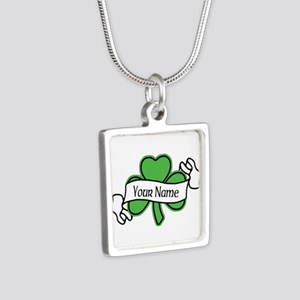 Shamrock CUSTOM TEXT Silver Square Necklace