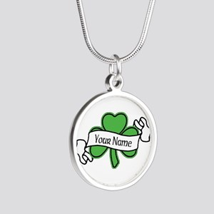 Shamrock CUSTOM TEXT Silver Round Necklace