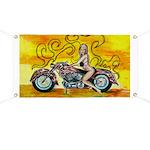 popart Motorcycle girl Banner